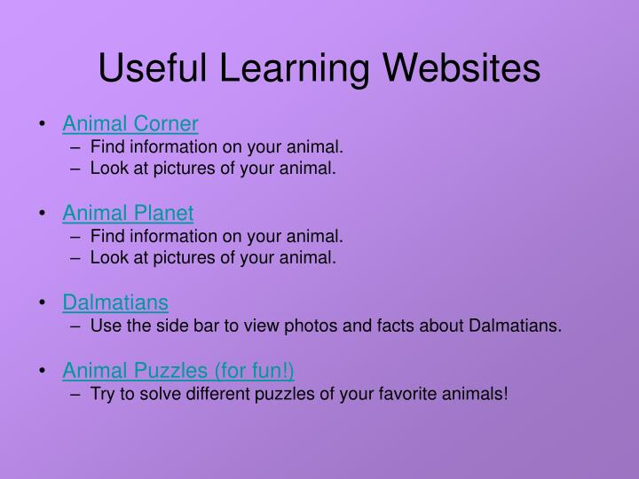 Useful Learning Websites