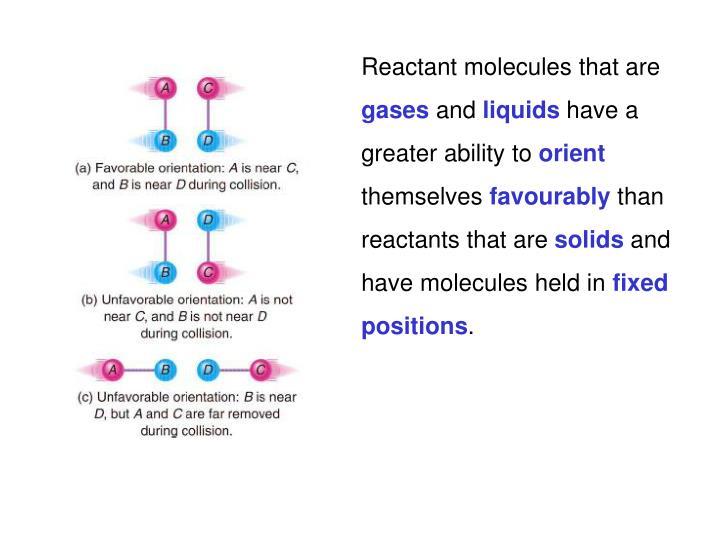 Reactant molecules that are