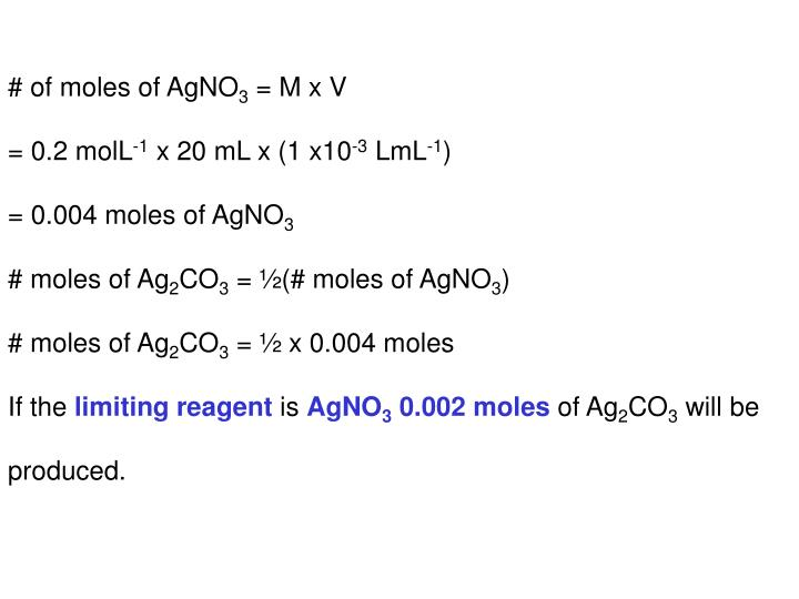 # of moles of AgNO