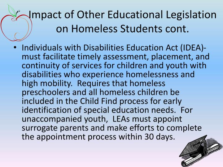 Impact of Other Educational Legislation on Homeless Students cont.
