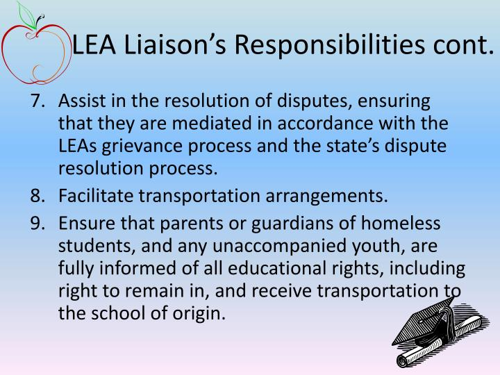 LEA Liaison's Responsibilities cont.