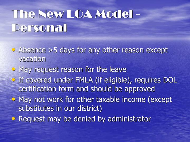 The New LOA Model - Personal