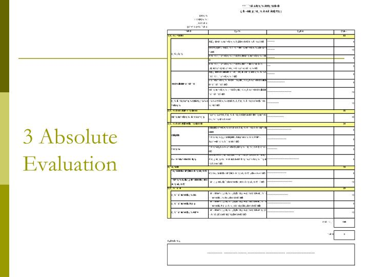 3 Absolute Evaluation