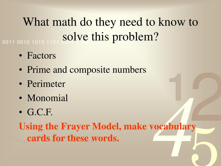 What math do they need to know to solve this problem?