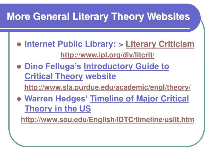 More General Literary Theory Websites