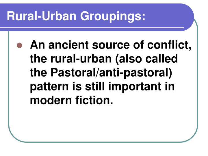 Rural-Urban Groupings: