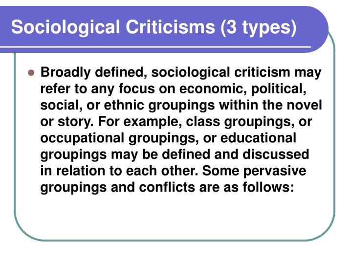 Sociological Criticisms