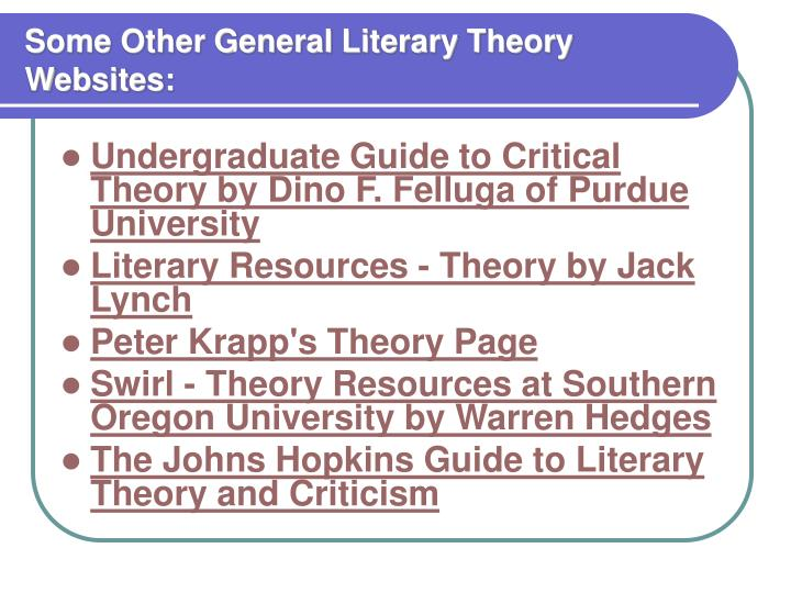 Some Other General Literary Theory Websites: