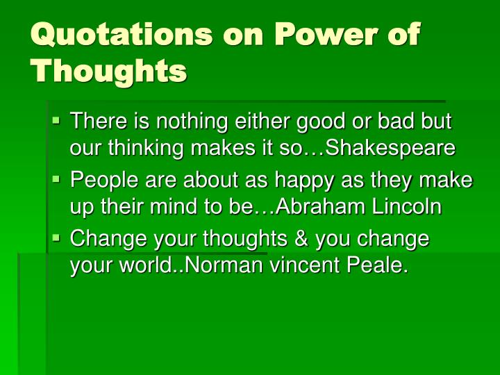 Quotations on Power of Thoughts