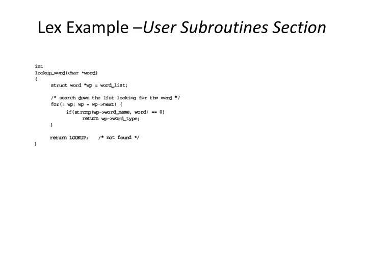 Lex Example –