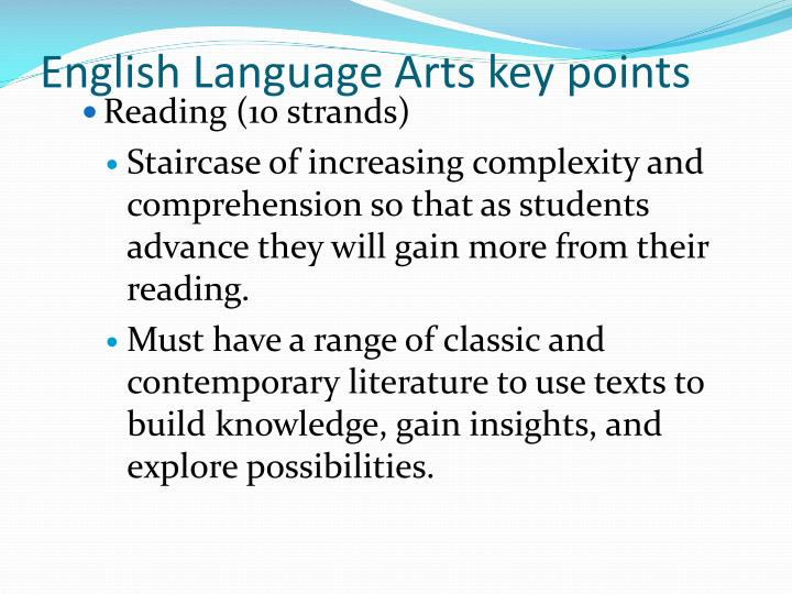 English Language Arts key points