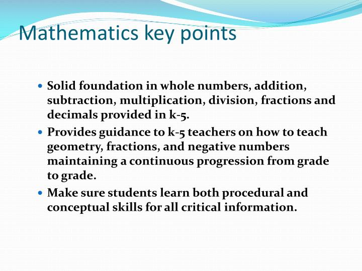 Mathematics key points