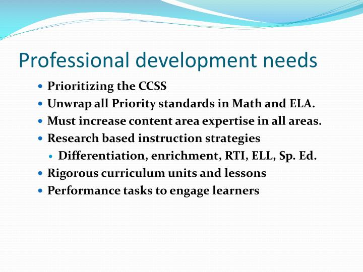 Professional development needs