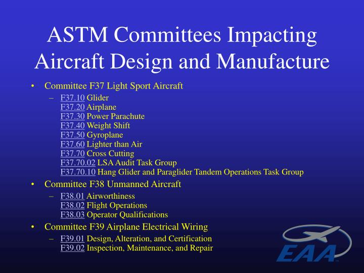 ASTM Committees Impacting Aircraft Design and Manufacture