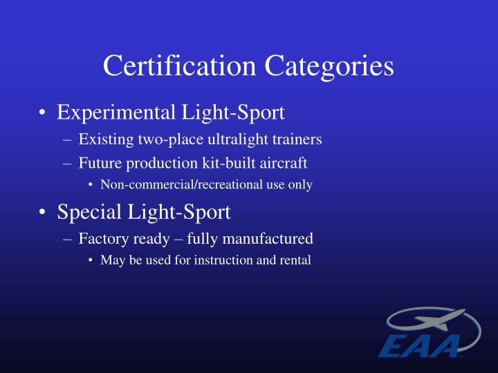 Certification Categories