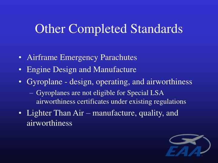 Other Completed Standards