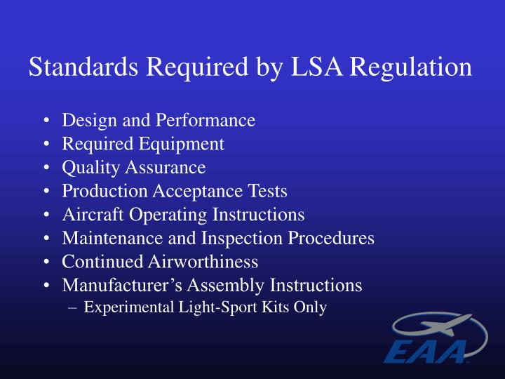 Standards Required by LSA Regulation