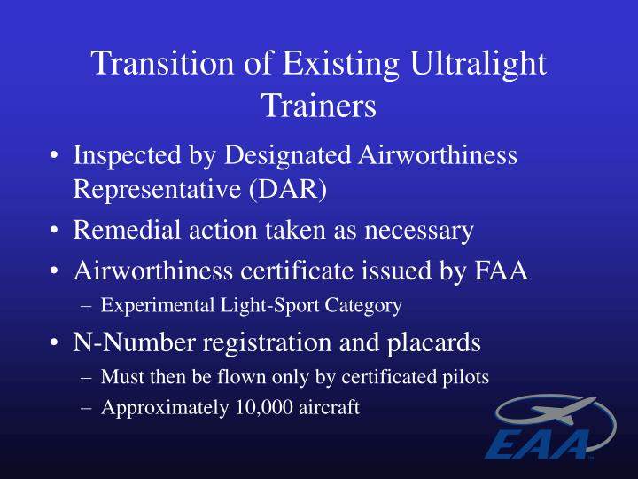 Transition of Existing Ultralight Trainers