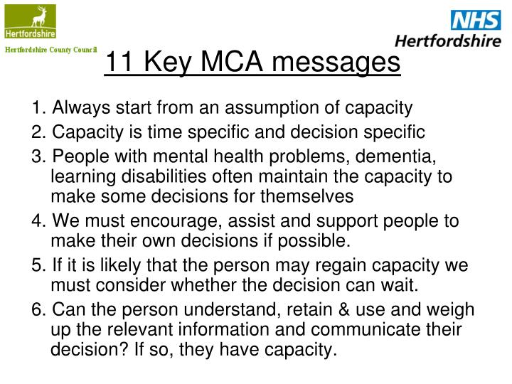 11 key mca messages