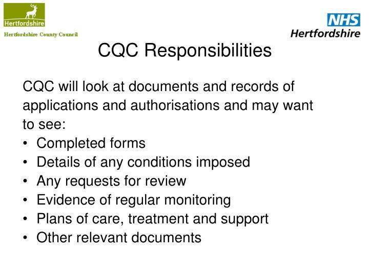 CQC Responsibilities