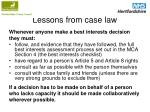 lessons from case law