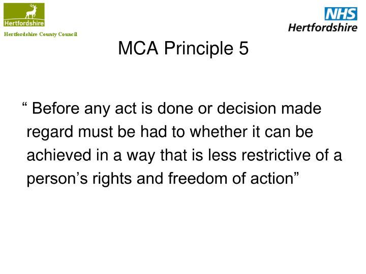 MCA Principle 5