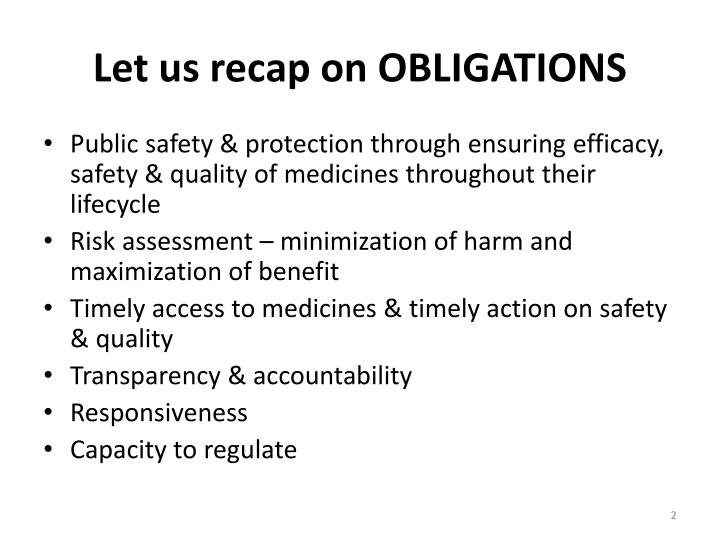 L et us recap on obligations