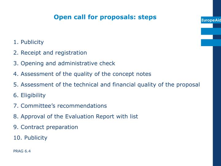 Open call for proposals: steps