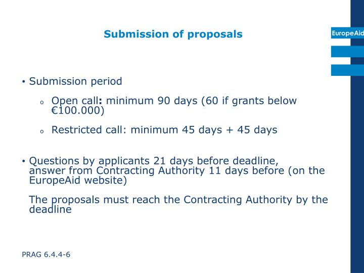 Submission of proposals