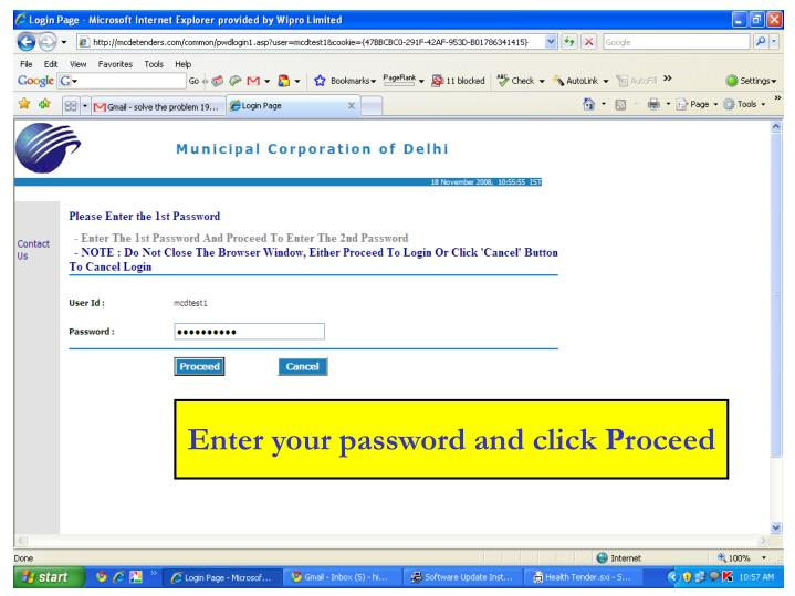 Enter your password and click Proceed