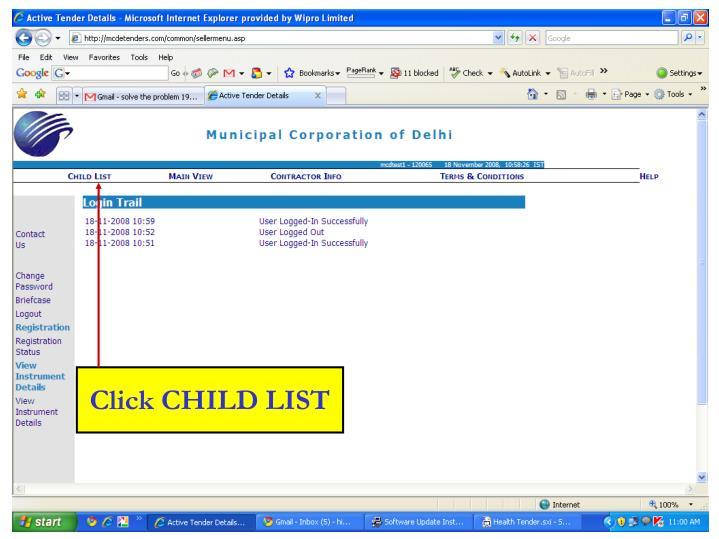 Click CHILD LIST