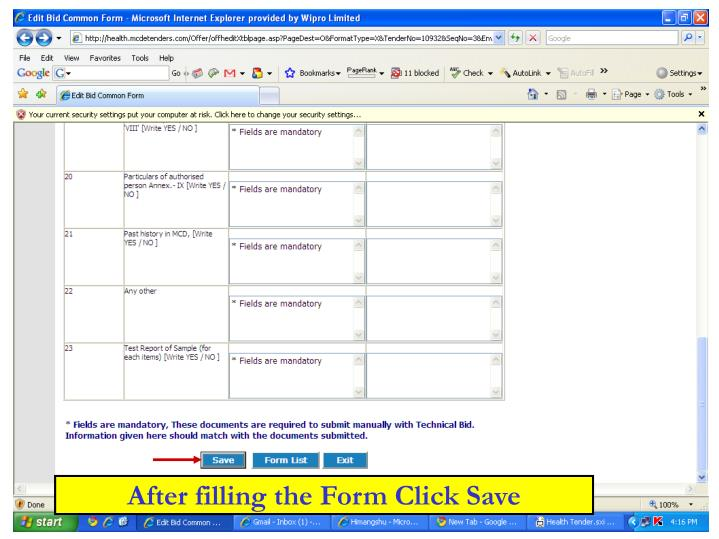 After filling the Form Click Save