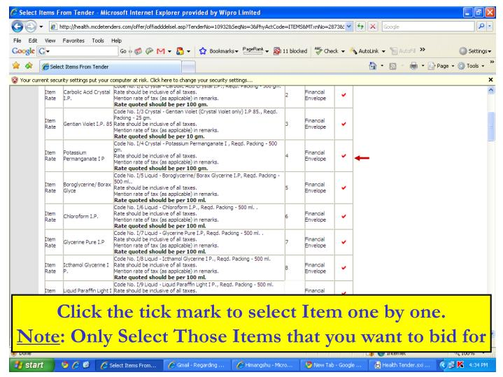 Click the tick mark to select Item one by one.