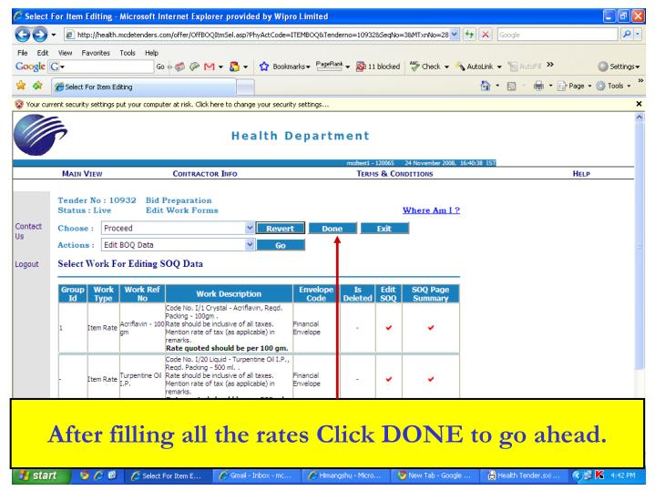 After filling all the rates Click DONE to go ahead.