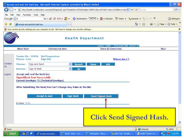 Click Send Signed Hash.
