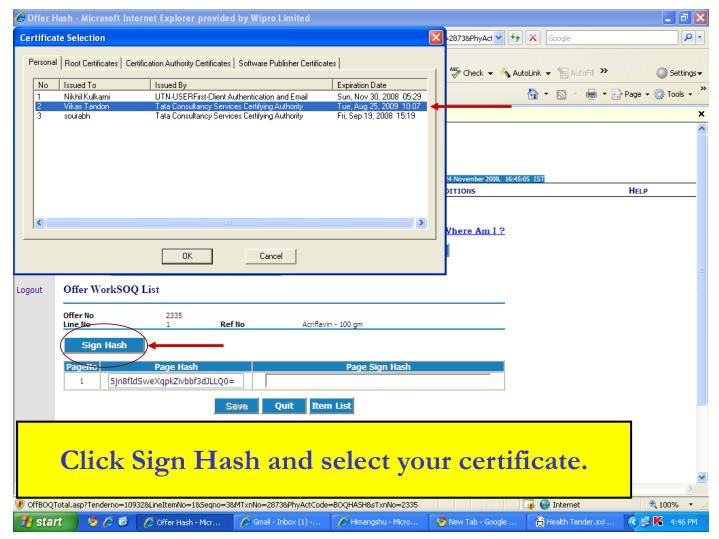 Click Sign Hash and select your certificate.