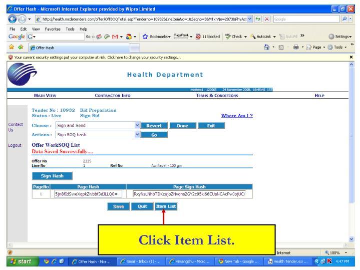 Click Item List.