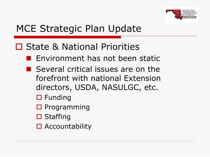 MCE Strategic Plan Update
