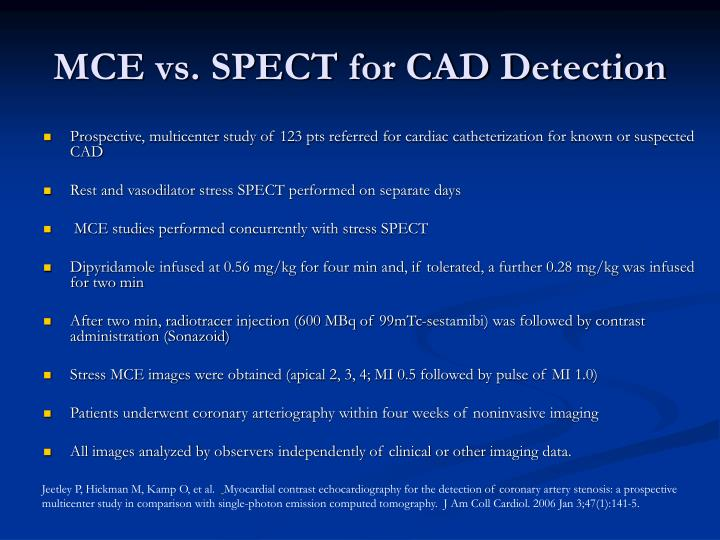MCE vs. SPECT for CAD Detection