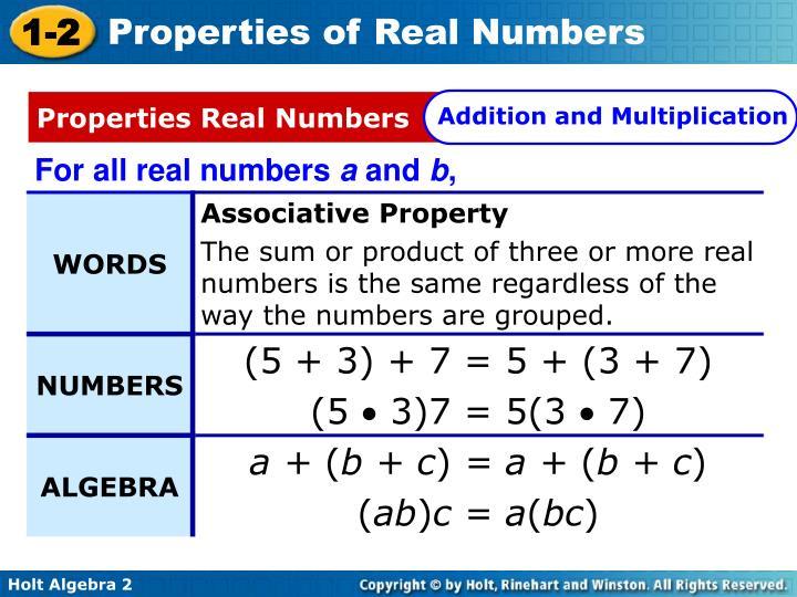 Properties Real Numbers