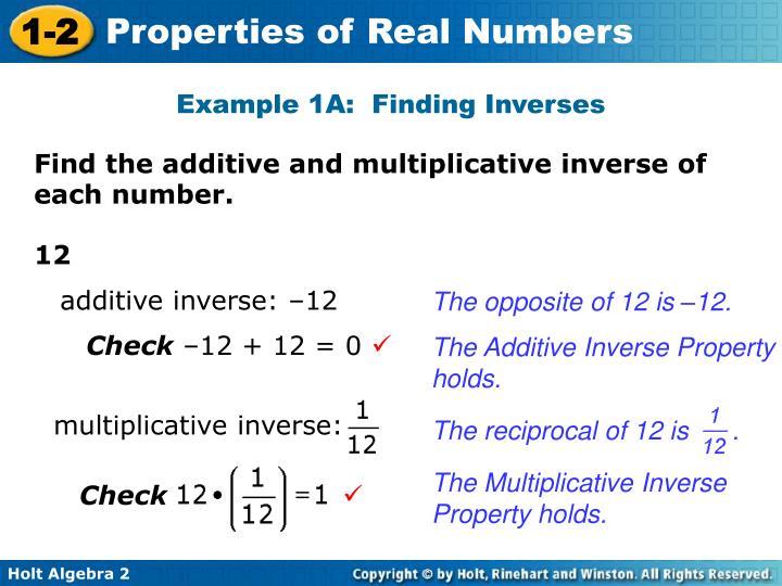 multiplicative inverse: