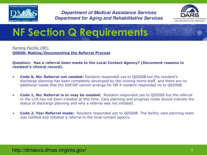 NF Section Q Requirements
