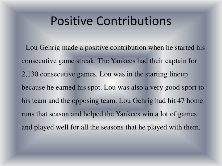 Positive Contributions
