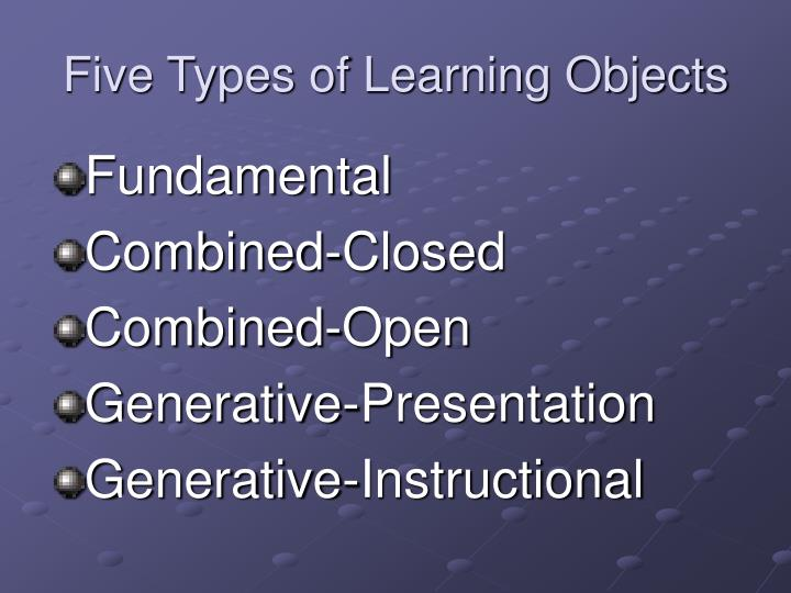 Five Types of Learning Objects
