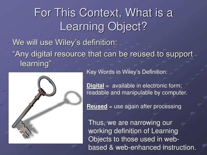 For This Context, What is a Learning Object?