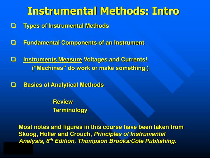 Instrumental methods intro