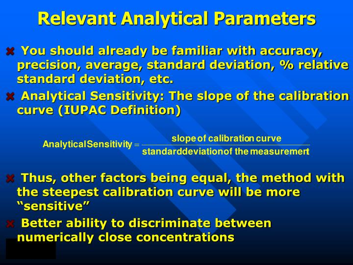 Relevant Analytical Parameters