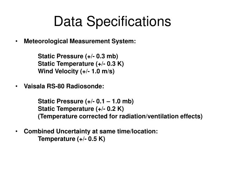 Data specifications