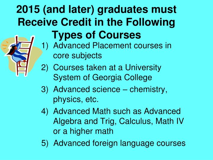 2015 (and later) graduates must Receive Credit in the Following Types of Courses