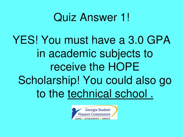 Quiz Answer 1!